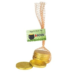 Leprechaun Loot Bags - Chocolate Gold Coins in Mesh Bag (5 pcs.)